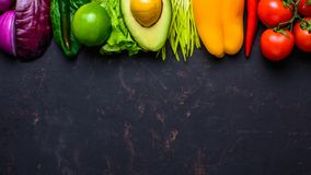 Healthy vegan food concept. Fruits vegetables background. Space for text stock images