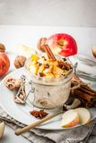 Apple pie overnight oatmeal Royalty Free Stock Image