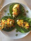 Healthy Vegan Jackfruit Tacos on Collard Greens royalty free stock photography