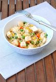 Healthy vegan meal with tofu,peas,carrot,sweet corn and whole grain rice Royalty Free Stock Image
