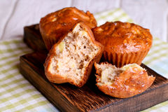 Healthy vegan oat muffins, apple and banana cakes Royalty Free Stock Images
