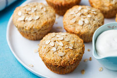 Healthy vegan oat muffins, apple and banana cakes Stock Photos