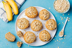 Healthy vegan oat muffins, apple and banana cakes Royalty Free Stock Image