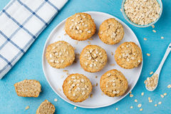 Healthy vegan oat muffins, apple and banana cakes on a white plate Top view Royalty Free Stock Image