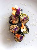Healthy Vegan Sushi Rolls with Sesame Seeds Royalty Free Stock Photo