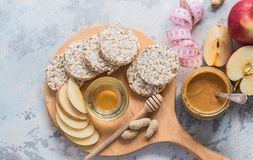 Healthy vegan toast with nut butter. TOp view. Vegan food, vegetarian, healthy eating, healthy lifestyle, dieting, fitn. Healthy vegan toast with nut butter and Royalty Free Stock Photos
