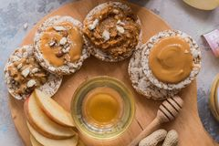 Healthy vegan toast with nut butter. TOp view. Vegan food, vegetarian, healthy eating, healthy lifestyle, dieting, fitn. Healthy vegan toast with nut butter and Stock Image