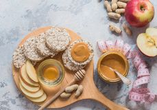 Healthy vegan toast with nut butter. TOp view. Vegan food, vegetarian, healthy eating, healthy lifestyle, dieting, fitn. Healthy vegan toast with nut butter and Royalty Free Stock Photography