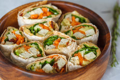 Healthy vegan tofu tortilla wraps with tofu and vegetables Stock Images