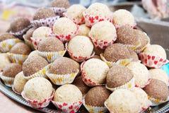 Healthy vegan truffles. Homemade healthy vegan chocolate truffles candy background Royalty Free Stock Photo