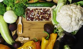 Fresh vegetables and beans. Foods high in fibre, anthocyanins, antioxidants, smart carbohydrates, minerals and vitamins. Healthy vegan and vegetarian food. Diet stock images