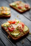 Healthy vege toasts with onion, cucomber, cherry tomatoes royalty free stock photo