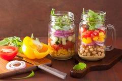 Healthy vegetable chickpea salad in mason jar royalty free stock photos