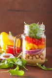 Healthy vegetable chickpea salad in mason jar Stock Photography