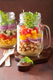 Healthy vegetable chickpea salad in mason jar Royalty Free Stock Photography