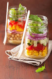 Healthy vegetable chickpea salad in mason jar Royalty Free Stock Photo