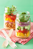 Healthy vegetable chickpea salad in mason jar Royalty Free Stock Image