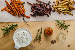 Healthy vegetable chips - french fries beet, celery and carrots Royalty Free Stock Photo