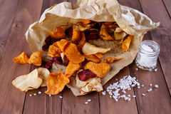 Healthy vegetable chips on paper with sea salt Stock Image