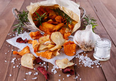 Healthy vegetable chips on paper with sea salt, rosemary and garlic Stock Photography
