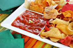 Healthy Vegetable Chips with Salsa Dip Royalty Free Stock Images