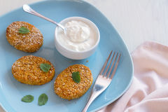 Healthy vegetable cutlets with carrot, dried apricots, almonds and herbs, breaded in oat bran Royalty Free Stock Photography