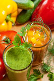 Healthy vegetable drink. Healthy drink, vegetable juice, red and green Stock Photo