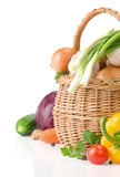 Healthy Vegetable Food And Basket Royalty Free Stock Photography