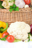 Healthy vegetable food and basket Royalty Free Stock Image