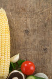 Healthy vegetable food and ingridients on wood Stock Photography