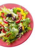 Healthy vegetable fresh organic salad over white Royalty Free Stock Images