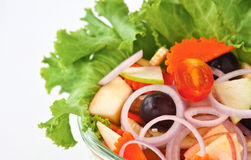 Healthy vegetable and fruit salad. Fresh and healthy vegetable and fruit salad Stock Photography