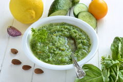Healthy vegetable green smoothies Stock Photo