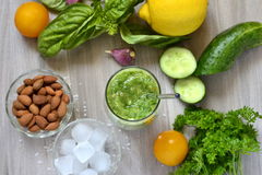 Healthy vegetable green smoothies Royalty Free Stock Images