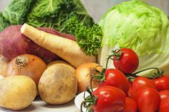 Healthy vegetable group. On kitchen board Stock Photography