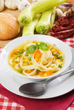 Healthy vegetable and noodle soup Royalty Free Stock Image