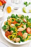 Vegetable salad with chicken meat. Healthy vegetable salad with chicken meat on white wooden table. Top view Stock Photography