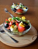 Healthy vegetable salad with eggs in the glass bowl Royalty Free Stock Image