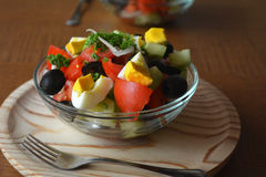 Healthy vegetable salad with eggs in the glass bowl Royalty Free Stock Photography