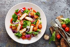 Healthy vegetable salad with grilled chicken breast, fresh lettuce, cherry tomatoes, red onion and pepper Stock Photo