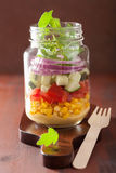 Healthy vegetable salad in mason jar Royalty Free Stock Photo
