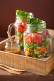 Healthy vegetable salad in mason jar. tomato, broccoli, carrot, Royalty Free Stock Photography