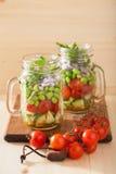 Healthy vegetable salad in mason jar: tomato, cucumber, soybean, Stock Photos