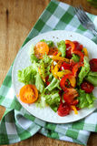 Healthy vegetable salad on plate, top view Royalty Free Stock Image
