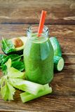 Healthy vegetable smoothie with celery and avocado Stock Photography