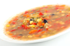 Healthy vegetable soup. With lentils and corn royalty free stock image