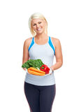 Healthy vegetable woman Stock Images