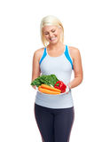 Healthy vegetable woman Royalty Free Stock Images