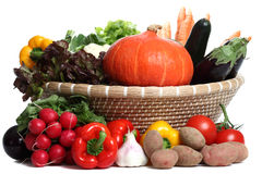 Healthy Vegetables. In a Basket on a white background Stock Images