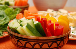 Healthy vegetables. Healthy, colorful vegetables in a round ceramic bowl Royalty Free Stock Photography
